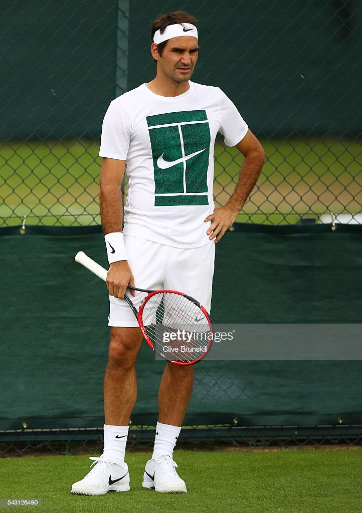<a gi-track='captionPersonalityLinkClicked' href=/galleries/search?phrase=Roger+Federer&family=editorial&specificpeople=157480 ng-click='$event.stopPropagation()'>Roger Federer</a> of Switzerland during a practice session prior to the Wimbledon Lawn Tennis Championships at the All England Lawn Tennis and Croquet Club on June 26, 2016 in London, England.