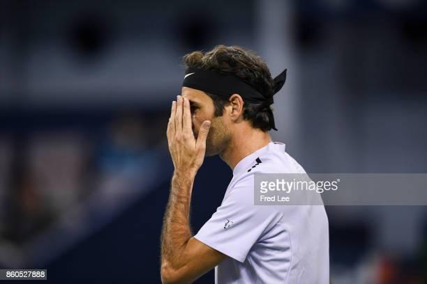 Roger Federer of Switzerland during his win against Alexandr Dolgopolov of Ukraine in the Men's singles match on day 5 of 2017 ATP Shanghai Rolex...