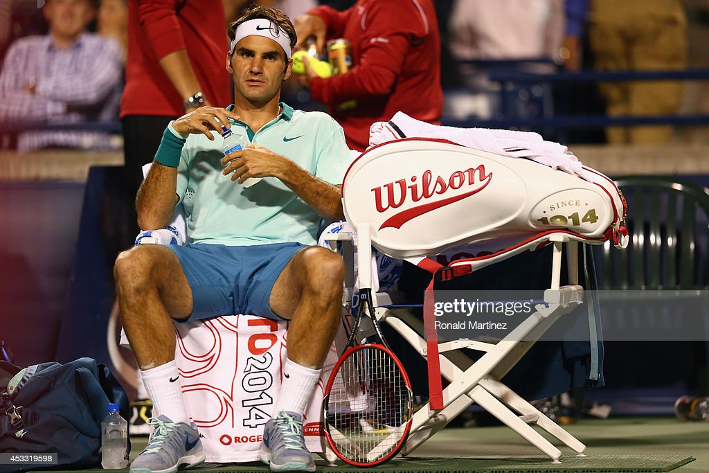 Roger Federer of Switzerland during play against Marin Cilic of Croatia during Rogers Cup at Rexall Centre at York University on August 7, 2014 in Toronto, Canada.