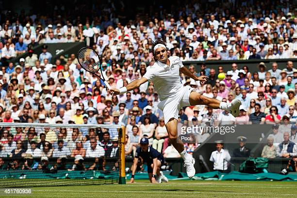 Roger Federer of Switzerland during the Gentlemen's Singles Final match against Novak Djokovic of Serbia on day thirteen of the Wimbledon Lawn Tennis...