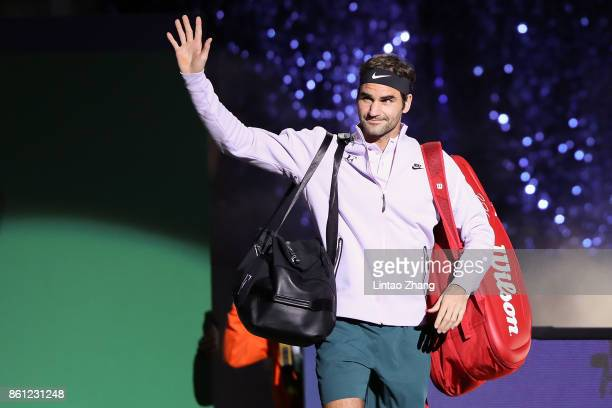 Roger Federer of Switzerland enters the tennis court during the Men's singles Semifinal mach against Juan Martin del Potro of Argentina on day seven...