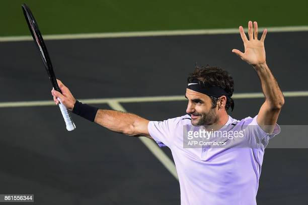 Roger Federer of Switzerland gestures after beating Rafael Nadal of Spain in their men's singles final match at the Shanghai Masters tennis...
