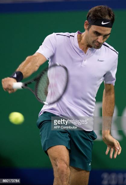 Roger Federer of Switzerland hits a return during his men's 2nd round singles match against Diego Schwartzman of Argentina at the Shanghai Masters...