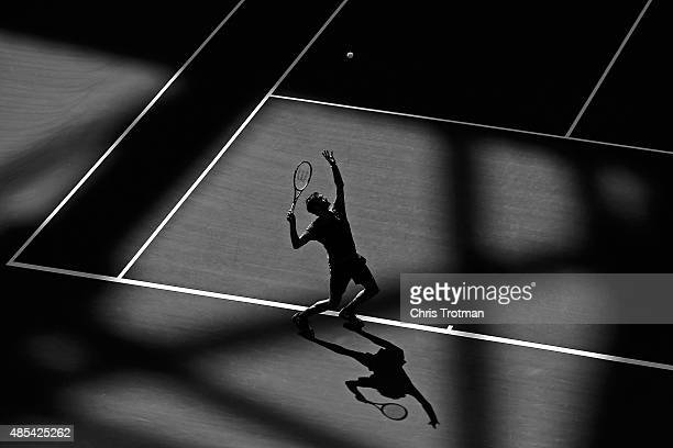 Roger Federer of Switzerland hits the ball during a practice session prior to the 2015 US Open at USTA Billie Jean King National Tennis Center on...