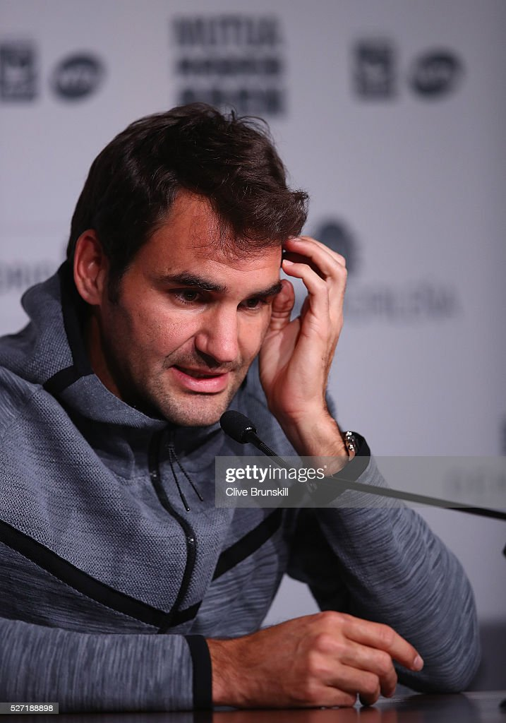 Roger Federer of Switzerland holds a press conference to annouce his withdrawal due to a back injury before his first match during day three of the Mutua Madrid Open tennis tournament at the Caja Magica on May 02, 2016 in Madrid,Spain.