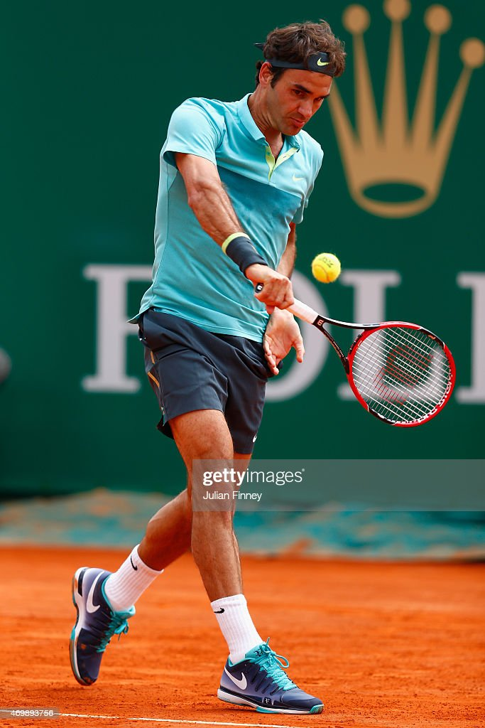 Roger Federer of Switzerland in action against Gael Monfils of France during day five of the Monte Carlo Rolex Masters tennis at the Monte-Carlo Sporting Club on April 16, 2015 in Monte-Carlo, Monaco.
