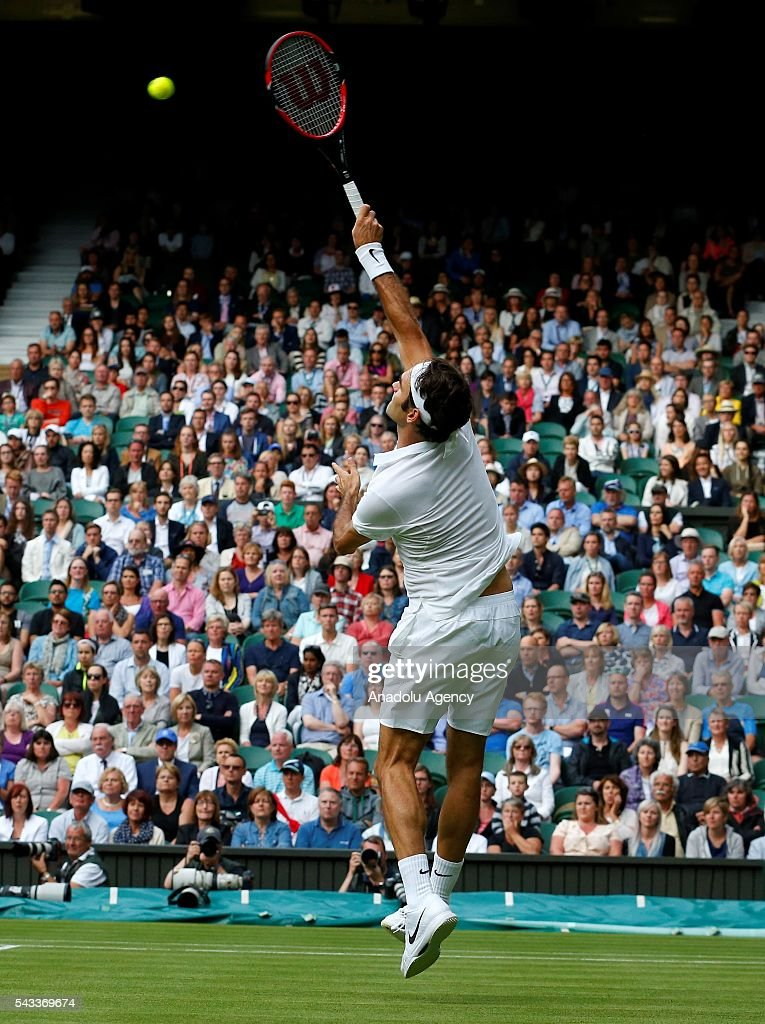 Roger Federer of Switzerland in action against Guido Pella of Argentina in the mens' singles on day one of the 2016 Wimbledon Championships at the All England Lawn Tennis and Croquet Club in London, United Kingdom on June 27, 2016.