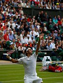 Roger Federer of Switzerland in action against Guido Pella of Argentina in the mens' singles on day one of the 2016 Wimbledon Championships at the...