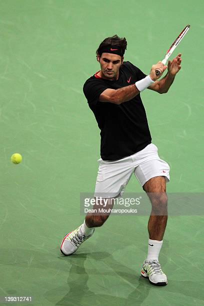 Roger Federer of Switzerland in action against Juan Martin Del Potro of Argentina in the Final on day 7 of the ABN AMRO World Tennis Tournament on...