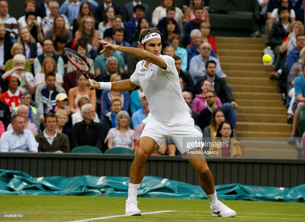 Roger Federer of Switzerland in action against Marcus Willis (not seen) of Great Britain in the men's Singles on day three of the 2016 Wimbledon Championships at the All England Lawn and Croquet Club in London, United Kingdom on June 29, 2016.