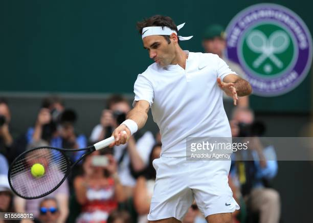 Roger Federer of Switzerland in action against Marin Cilic of Croatia during the men's final of the 2017 Wimbledon Championships at the All England...