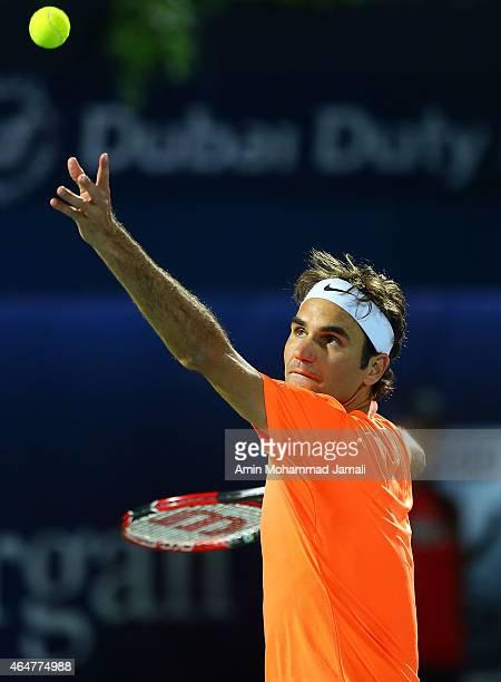 Roger Federer of Switzerland in action against Novak Djokovic of Serbia during men's singles Final match of the ATP Dubai Duty Free Tennis...