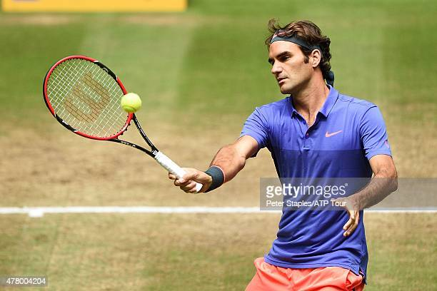 Roger Federer of Switzerland in action defeating Andreas Seppi of Italy in the Finals at the Gerry Weber Open on June 21 2015 in Halle Germany