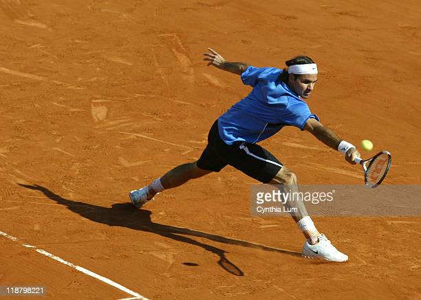 Roger Federer of Switzerland in action defeating Mario Ancic of Croatia 64 63 64 in the quarter final of the 2006 French Open at Roland Garros in...