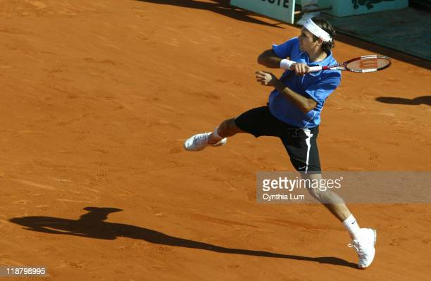 Roger Federer of Switzerland in action defeating Mario Ancic of Croatia 64 63 64 in the quarter final of the 2006 French Open at Roland Garros...