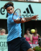 Roger Federer of Switzerland in action defeating Mikhail Youzhny of Russia 76 64 64 in the fourth round of the French Open at Roland Garros Paris...