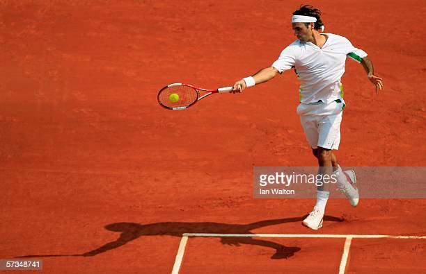 Roger Federer of Switzerland in action during his match against Novak Djokovic of Serbia and Montenegro during the Rolex ATP Tennis Masters Monte...