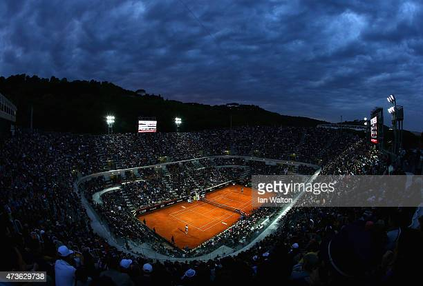 Roger Federer of switzerland in action during his Men's Semi Final match against Stan Wawrinka of Switzerland on Day Seven of The Internazionali BNL...