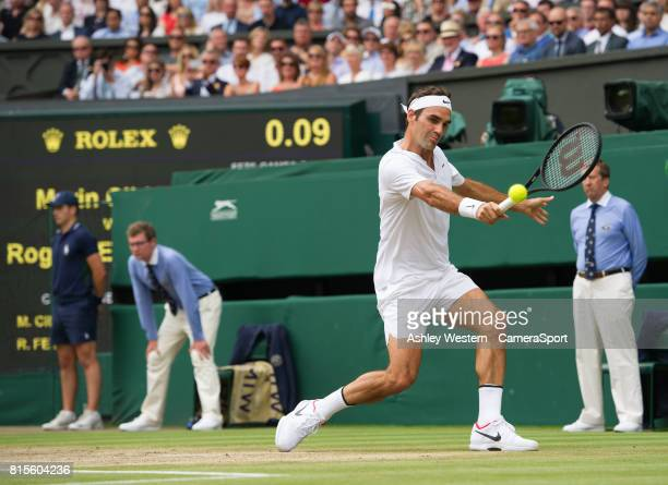 Roger Federer of Switzerland in action during his victory against Marin Cilic of Croatia in their Gentlemen's Singles Final at Wimbledon on July 16...