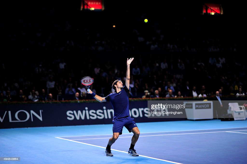 Roger Federer of Switzerland in action during the fourth day of the Swiss Indoors ATP 500 tennis tournament against Philipp Kohlschreiber of Germany at St Jakobshalle on October 29, 2015 in Basel, Switzerland.