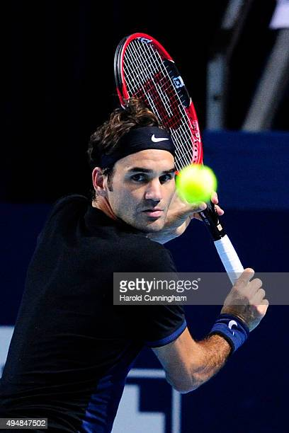 Roger Federer of Switzerland in action during the fourth day of the Swiss Indoors ATP 500 tennis tournament against Philipp Kohlschreiber of Germany...