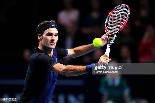 Roger Federer of Switzerland in action during the sixth day of the Swiss Indoors ATP 500 tennis tournament against Jack Sock of US at St Jakobshalle...
