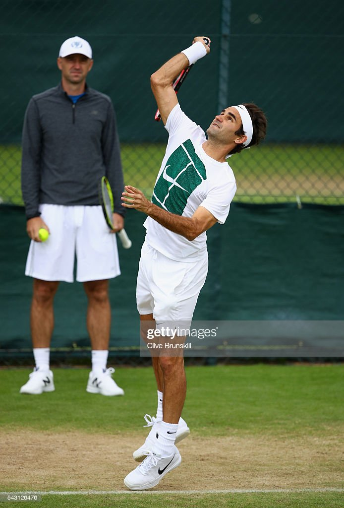 <a gi-track='captionPersonalityLinkClicked' href=/galleries/search?phrase=Roger+Federer&family=editorial&specificpeople=157480 ng-click='$event.stopPropagation()'>Roger Federer</a> of Switzerland in action watched by his coach <a gi-track='captionPersonalityLinkClicked' href=/galleries/search?phrase=Ivan+Ljubicic&family=editorial&specificpeople=213026 ng-click='$event.stopPropagation()'>Ivan Ljubicic</a> during a practice session prior to the Wimbledon Lawn Tennis Championships at the All England Lawn Tennis and Croquet Club on June 26, 2016 in London, England.