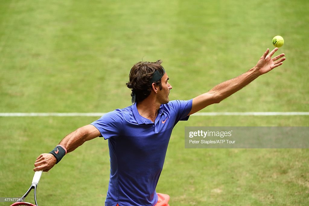 Roger Federer of Switzerland in action winning against Ernests Gulbis of Latvia at the Gerry Weber Open on June 17 2015 in Halle Germany