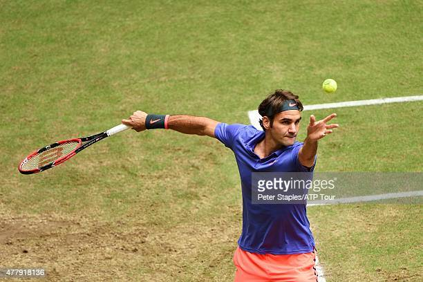 Roger Federer of Switzerland in action winning his SemiFinals match against Ivo Karlovic of Croatia at the Gerry Weber Open on June 20 2015 in Halle...
