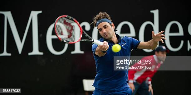 Roger Federer of Switzerland in action with Taylor Fritz of USA at the ATP World Tour 250 Mercedes Cup on June 8 2016 in Stuttgart Germany