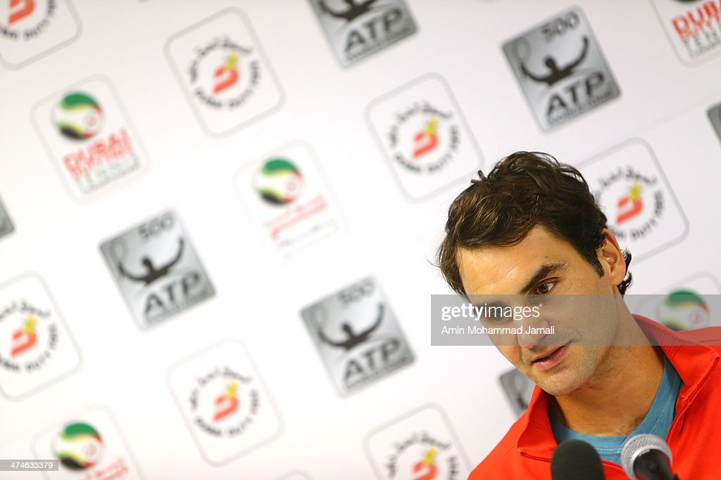 Roger Federer of Switzerland in press conference during after the first round match of the Dubai Duty Free Tennis ATP Championships in Dubai,on February 24, 2014 in Dubai, United Arab Emirates.