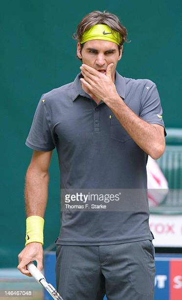 Roger Federer of Switzerland looks dejected during the final match against Tommy Haas of Germany during day seven of the Gerry Weber Open at Gerry...