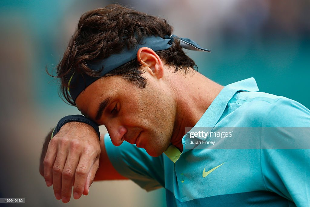 Roger Federer of Switzerland looks down in his match against Gael Monfils of France during day five of the Monte Carlo Rolex Masters tennis at the Monte-Carlo Sporting Club on April 16, 2015 in Monte-Carlo, Monaco.