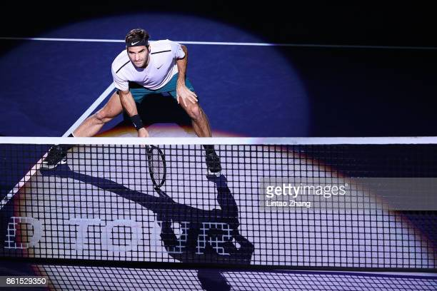 Roger Federer of Switzerland looks on during the Men's singles final mach against Rafael Nadal of Spain on day eight of 2017 ATP Shanghai Rolex...
