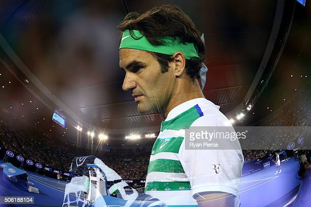 Roger Federer of Switzerland looks on in his third round match against Grigor Dimitrov of Bulgaria during day five of the 2016 Australian Open at...