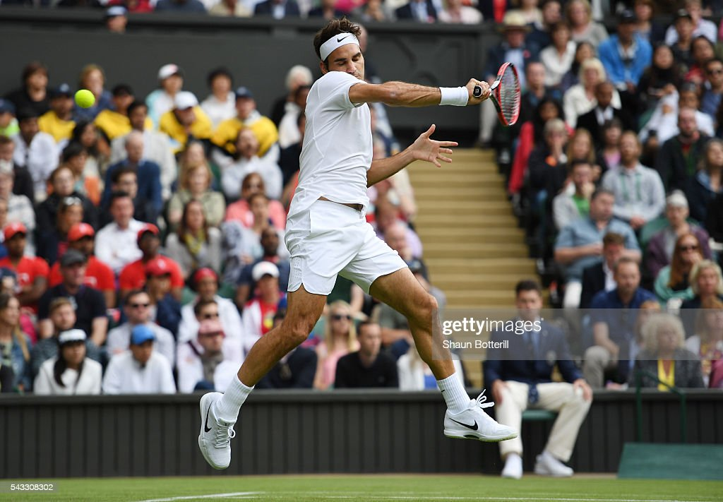 <a gi-track='captionPersonalityLinkClicked' href=/galleries/search?phrase=Roger+Federer&family=editorial&specificpeople=157480 ng-click='$event.stopPropagation()'>Roger Federer</a> of Switzerland misses the ball during the Men's Singles first round match against Giodo Pella of Argentina on day one of the Wimbledon Lawn Tennis Championships at the All England Lawn Tennis and Croquet Club on June 27th, 2016 in London, England.