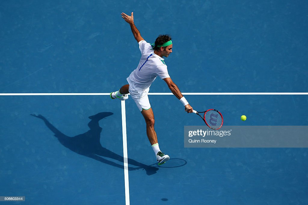 Roger Federer of Switzerland plays a backhand in his quarter final match against Tomas Berdych of the Czech Republic during day nine of the 2016...