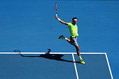 Roger Federer of Switzerland plays a backhand in his third round match against Andreas Seppi of Italy during day five of the 2015 Australian Open at...