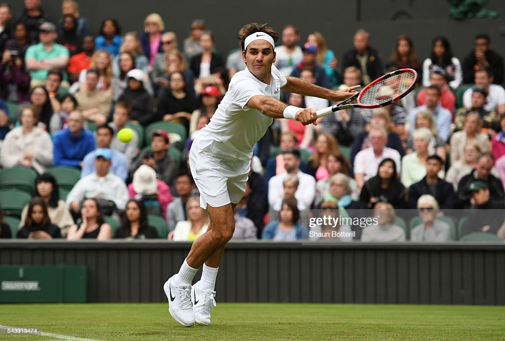 <a gi-track='captionPersonalityLinkClicked' href=/galleries/search?phrase=Roger+Federer&family=editorial&specificpeople=157480 ng-click='$event.stopPropagation()'>Roger Federer</a> of Switzerland plays a backhand shot during the Men's Singles first round against Giodo Pella of Argentina on day one of the Wimbledon Lawn Tennis Championships at the All England Lawn Tennis and Croquet Club on June 27th, 2016 in London, England.
