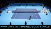 Roger Federer of Switzerland plays a forehand during his men's singles semifinal match against Rafael Nadal of Spain during day seven of the Barclays...