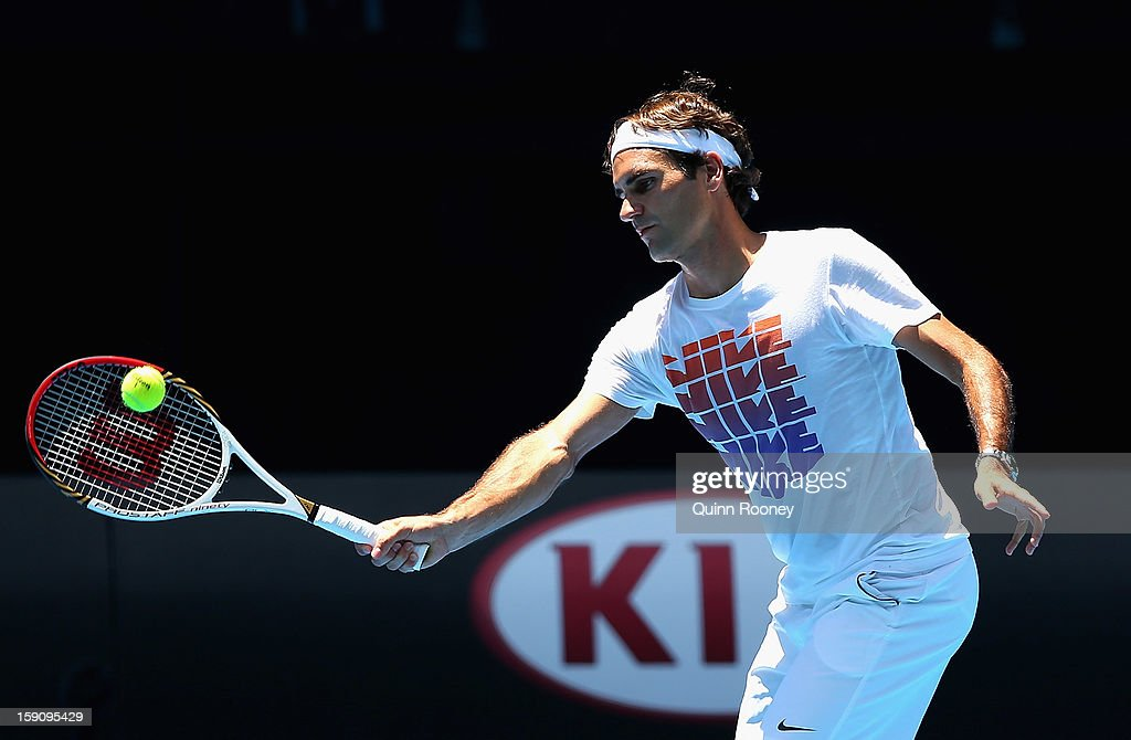 Roger Federer of Switzerland plays a forehand during practice ahead of the 2013 Australian Open at Melbourne Park on January 8, 2013 in Melbourne, Australia.