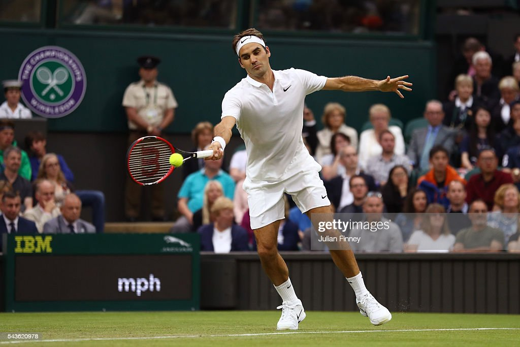 <a gi-track='captionPersonalityLinkClicked' href=/galleries/search?phrase=Roger+Federer&family=editorial&specificpeople=157480 ng-click='$event.stopPropagation()'>Roger Federer</a> of Switzerland plays a forehand during the Men's Singles second round match against Marcus Willis of Great Britain on day three of the Wimbledon Lawn Tennis Championships at the All England Lawn Tennis and Croquet Club on June 29, 2016 in London, England.