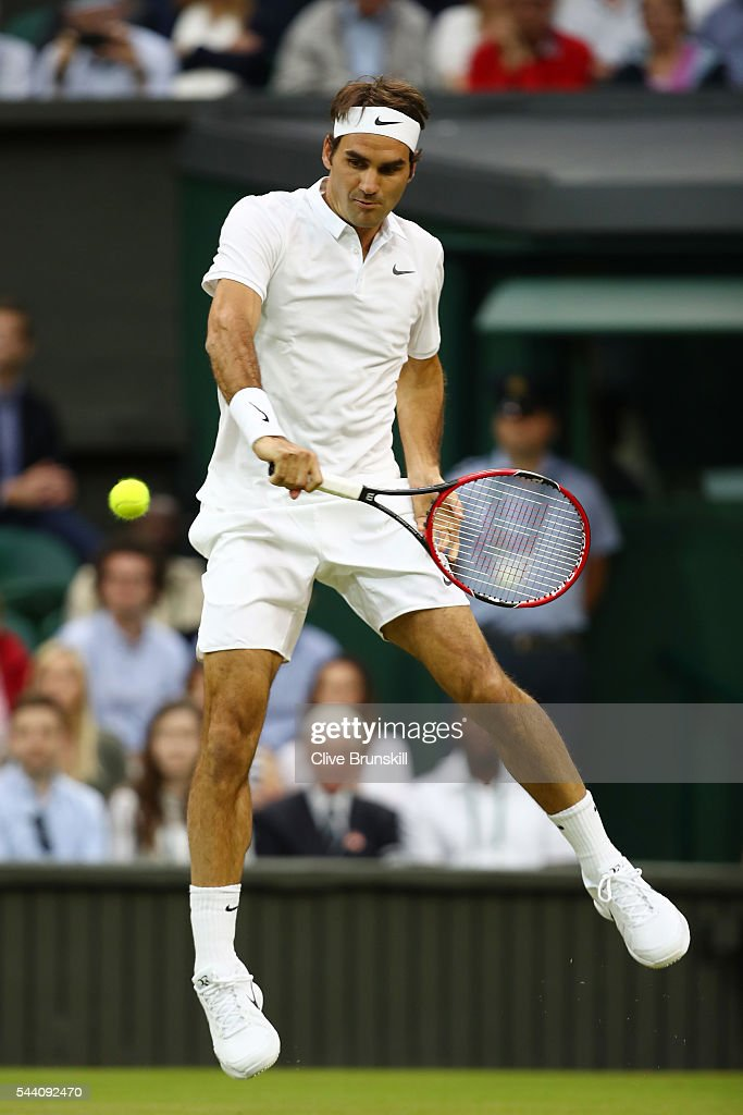 Roger Federer of Switzerland plays a forehand during the Men's Singles third round match against Daniel Evans of Great Britain on day five of the Wimbledon Lawn Tennis Championships at the All England Lawn Tennis and Croquet Club on July 1, 2016 in London, England.