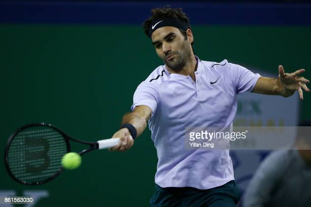 Roger Federer of Switzerland plays a forehand during the Men's singles final match against Rafael Nadal of Spain on day 8 of 2017 ATP Shanghai Rolex...