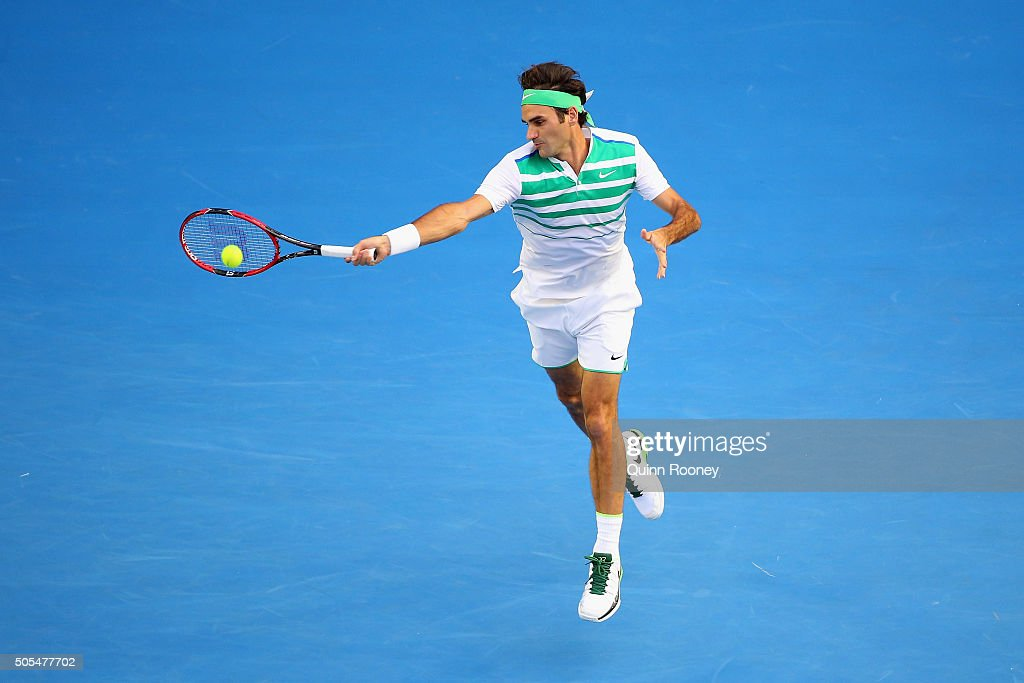 <a gi-track='captionPersonalityLinkClicked' href=/galleries/search?phrase=Roger+Federer&family=editorial&specificpeople=157480 ng-click='$event.stopPropagation()'>Roger Federer</a> of Switzerland plays a forehand in his first round match against Nikoloz Basilashvili of Georgia during day one of the 2016 Australian Open at Melbourne Park on January 18, 2016 in Melbourne, Australia