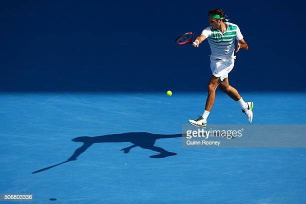 Roger Federer of Switzerland plays a forehand in his quarter final match against Tomas Berdych of the Czech Republic during day nine of the 2016...