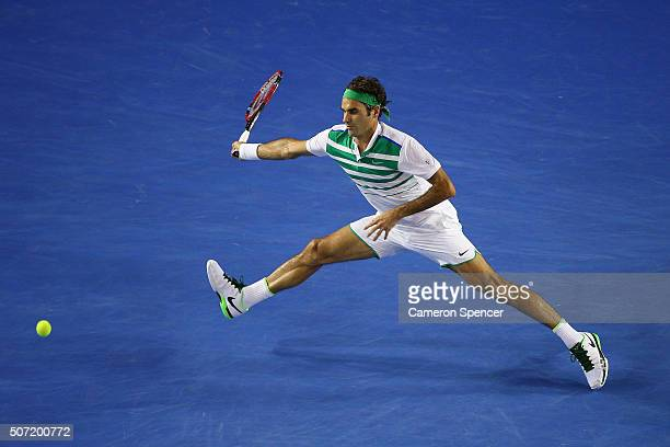 Roger Federer of Switzerland plays a forehand in his semi final match against Novak Djokovic of Serbia during day 11 of the 2016 Australian Open at...