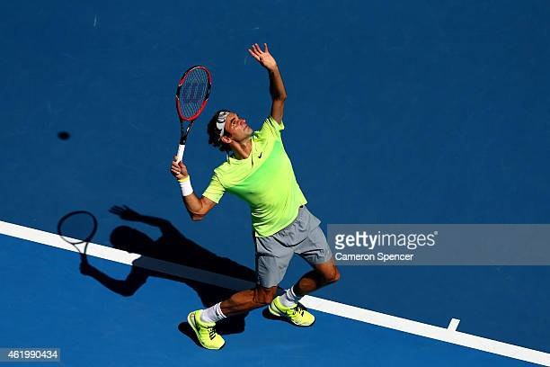 Roger Federer of Switzerland plays a forehand in his third round match against Andreas Seppi of Italy during day five of the 2015 Australian Open at...