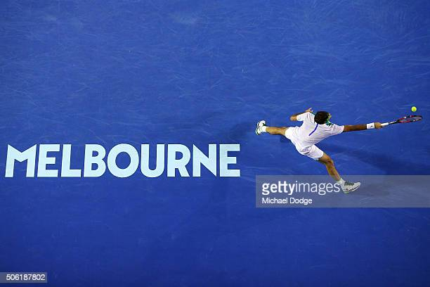 Roger Federer of Switzerland plays a forehand in his third round match against Grigor Dimitrov of Bulgaria during day five of the 2016 Australian...