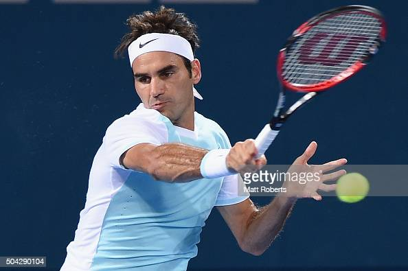 Roger Federer of Switzerland plays a forehand in the Mens Final against Milos Raonic of Canada during day eight of the 2016 Brisbane International at...